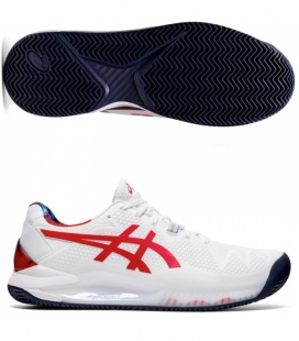 ASICS GEL RESOLUTION 8 CLAY L.E. WHITE/CLASSIC RED
